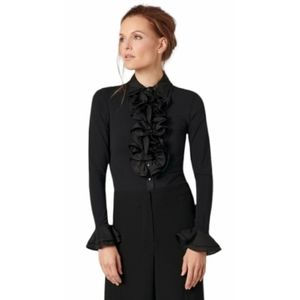 ANNE FONTAINE  Pasty Double Collar and Ruffle Pima